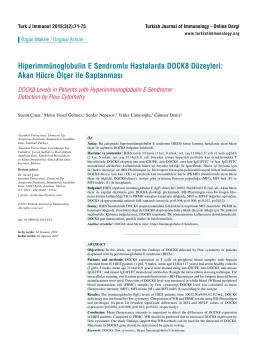 Hiperimmünoglobulin E Sendromlu Hastalarda DOCK8 Düzeyleri