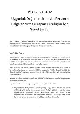 ISO 17024 Personel Belgelendirme Standartı Kapsamında