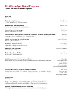 2015 Mezuniyet Töreni Programı