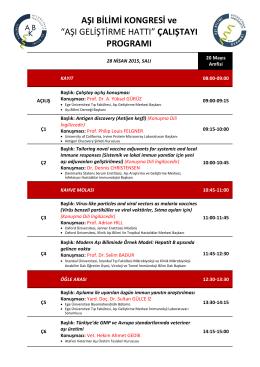Bilimsel Program - Ulusal Aşı Bilimi Kongresi