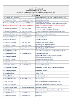 Gediz Üniversitesi 2015-2016 Öğretim Yılı Akademik Takvimi