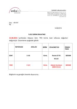 15.08.2015 tarihinden itibaren Anti- TPO IU/mL testi