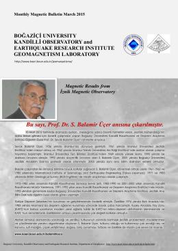 the PDF file - Kandilli Rasathanesi ve Deprem Araştırma