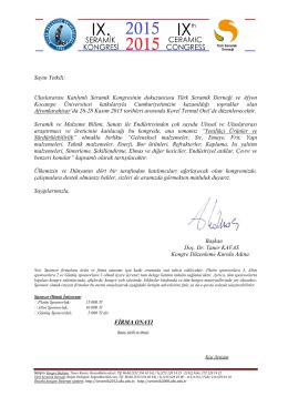 Sponsorluk Davetiyesi - 9. Uluslararası Seramik Kongresi
