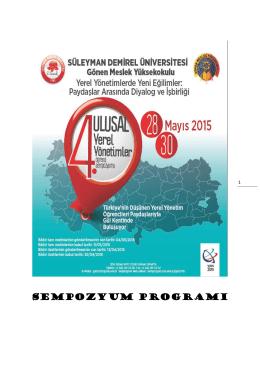 sempozyum programı - Süleyman Demirel Üniversitesi