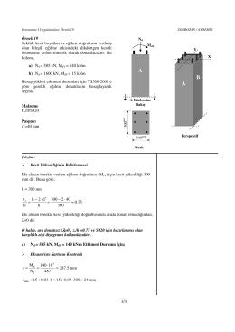 1/3 Örnek 19 Şekilde kesit boyutları ve eğilme doğrultusu verilmiş