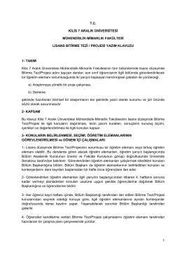 Bitirme Tezi Yazım Klavuzu - Mühendislik - Mimarlık Fakültesi