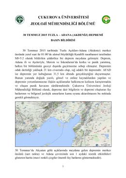 adana (akdeniz) depremi basın bildirisi
