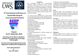 9th International Conference on Sustainable