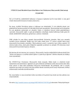UNESCO Genel Direktörü Sayın Irina Bokova`nın Uluslararası