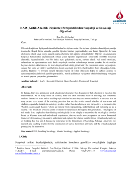 KAD (Kritik Analitik Düşünme) Perspektifinden Sosyoloji ve