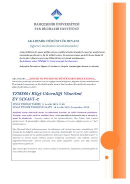 YZM5604 Bilgi Güvenliği Yönetimi EV SINAVI -2