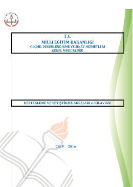 2015-2016 Yılı Destekleme ve Yetiştirme