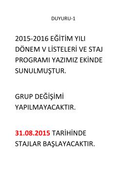 2015-2016 Dönem 5 Staj Listeleri Son Hali