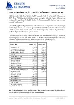 2015 yılı 4 dönem geçici vergiye esas değerleme kurları