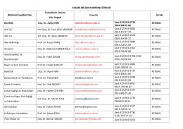 FARABİ BÖLÜM KOORDİNATÖRLERİ Bölümü/Anabilim Dalı