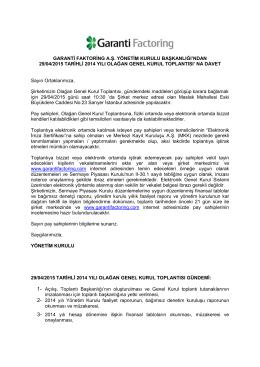 29/04/2015 tarihli 2014 yılı Olağan Genel Kurul
