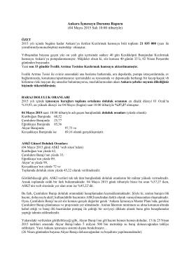 Hasan Akyar`ın hazırladığı 4 Mayıs 2015 tarihli Ankara İçmesuyu