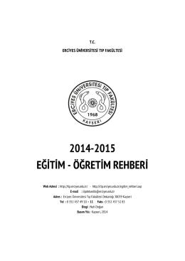 2014-2015 eğitim - öğretim rehberi - Erciyes Üniversitesi Tıp Fakültesi