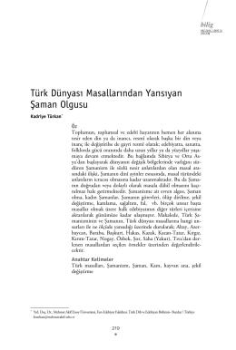 Türk Dünyası Masallarından Yansıyan Şaman Olgusu
