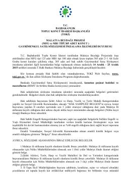 MALATYA BEYDAĞI PROJESİ (MFG ve MB1 TİPİ 305 ADET