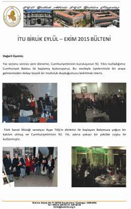 ITU BiRLiK EVLUL- EKiM 2015 BULTENI .. ..