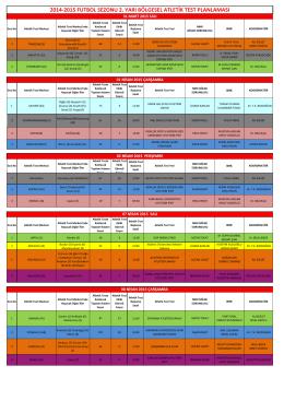 2014-2015 FUTBOL SEZONU 2. YARI BÖLGESEL ATLETİK TEST