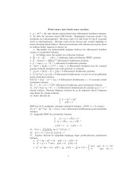 Final sınavı için örnek sınav soruları 1. y = Ae2x + Bx e˘gri ailesini