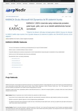 KARACA Grubu Microsoft AX Dynamics ile İK sistemini kurdu