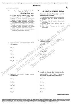 Arapça 1 2015 Tek Ders
