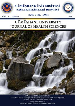 Cilt 5 Sayı 1 - Gümüşhane Üniversitesi Sağlık Bilimleri Dergisi