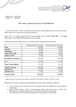 2016/002 2016 Yılında Uygulanacak Asgari Ücret Tarifesi Belirlendi