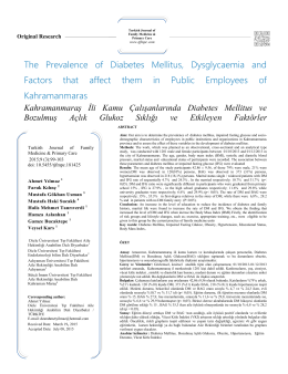 The Prevalence of Diabetes Mellitus, Dysglycaemia and Factors that