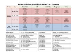 Beden Eğitimi ve Spor Bölümü Haftalık Ders Programı