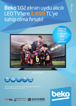Beko 102 ekran uydu alıcılı LED TV`lere 1.099TL`ye sahip olma fırsatı!