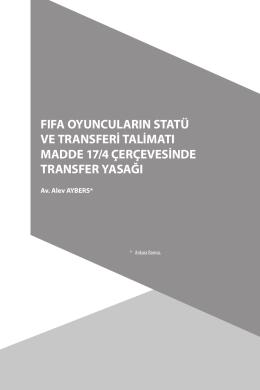 FIFA Oyuncuların Statü Ve Transferi Talimatı Madde 17/4