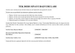 tek ders sınavı başvuruları - İstanbul Şişli Meslek Yüksekokulu
