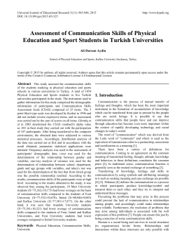 Assessment of Communication Skills of Physical Education and