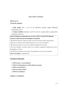 1 / 6 KULLANMA TAL MATI D COL jel %1 Cilt üzerine uygulanır
