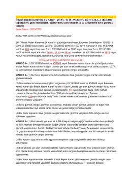 İthalat Rejimi Kararına Ek Karar - 2015/7713 (07.06
