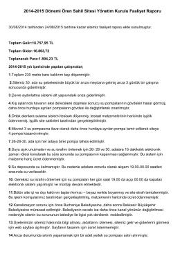 2014-2015 Dönemi Ören Sahil Sitesi Yönetim Kurulu Faaliyet Raporu