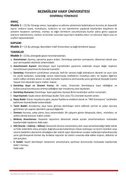 Demirbaş Yönergesi - Bezmialem Vakıf Üniversitesi