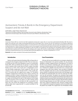 Aortoenteric Fistula-A Bomb in the Emergency Department: Suspect