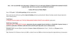 2014 – 2015 akademik yılı erasmus+ öğrenci staj & 2015