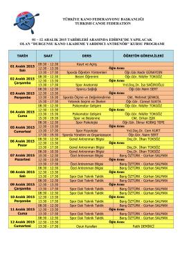 12 aralık 2015 tarihleri arasında edirne`de yapılacak