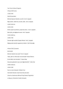 Yazı-Yorum Ankara Programı 3 Nisan 2015 Cuma 13:30