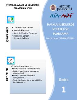 stratejik planlama - Atatürk Üniversitesi Açıköğretim Fakültesi