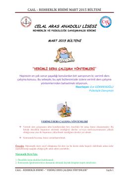 verimli ders çalışma yöntemleri mart 2015