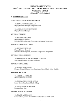 LIST OF PARTICIPANTS OF 4 MEETING OF THE COMCEC