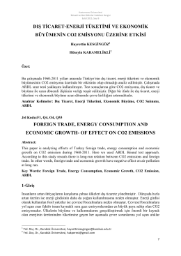 Dış Ticaret-Enerji Tüketimi ve Ekonomik Büyümenin CO2 Emisyonu